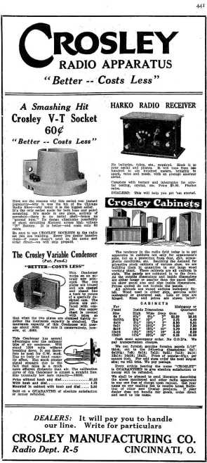 Crosley Radio Models Sources For The Beginning 1921 1930