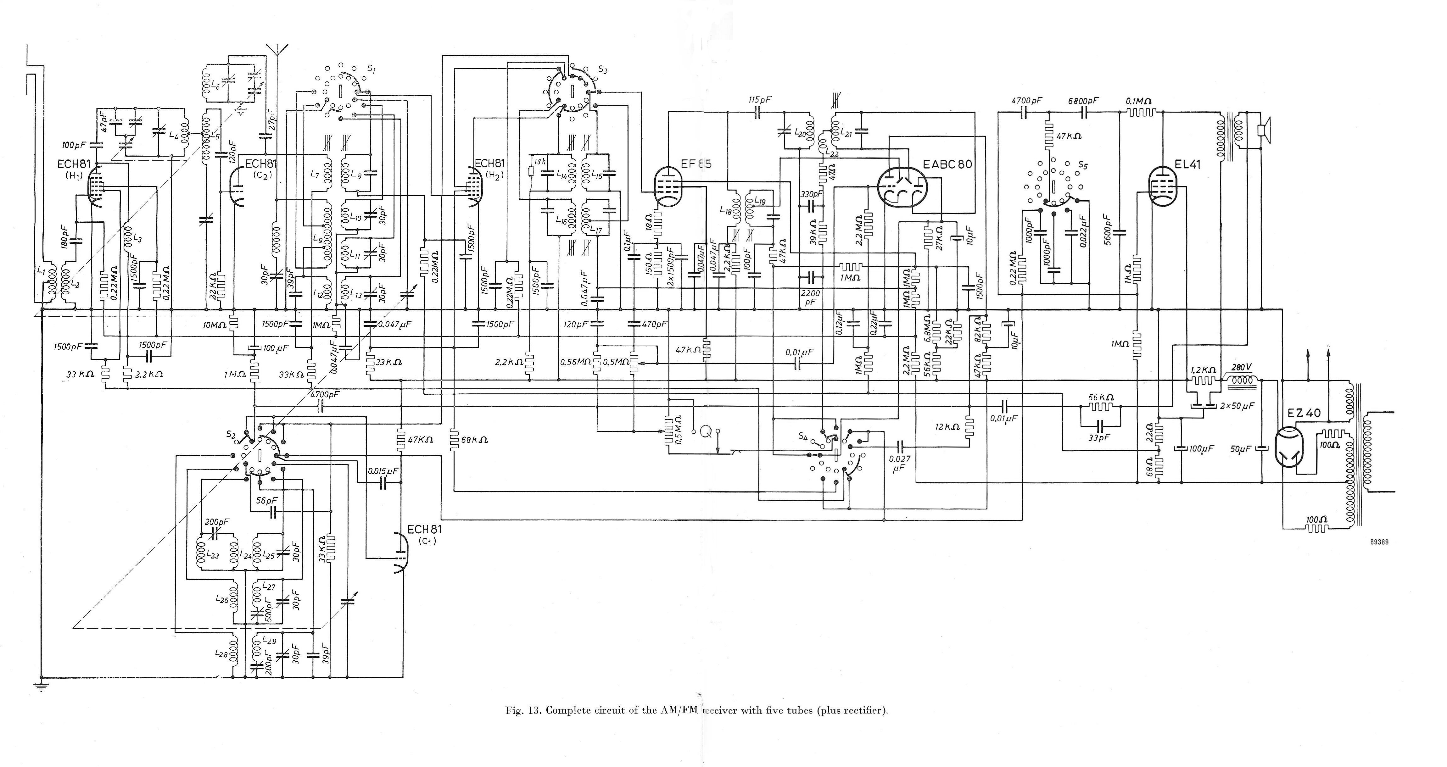 Eq 40 Tube Eq40 Rhre Id18615 Enneode Ultimate Wiring Diagram Philps Reference Design Of An Am Fm Receiver From Eab 1951 No Longer Using The Eq80 But Eabc80 Valve This Was 5 Plus Ez40