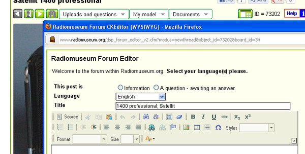 Forum Editor Window with all buttons
