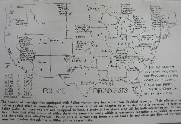 US Nationwide Police Radio Frequencies 1933
