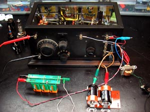 regular radio crosley radio corp cincinnati oh build i conduted my tests this setup it comprises two d cells for the 3v a battery 6 nimh rechargeable 9v batteries for the b 45v supply