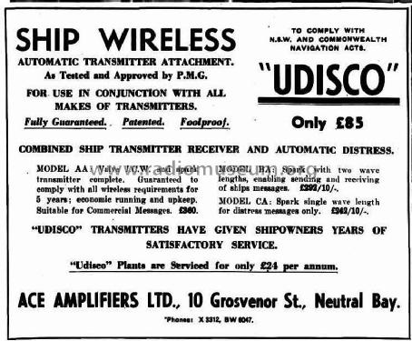 Udisco Combined Ship Transmitter/Receiver & Automatic Distress AA; Ace Amplifiers Ltd. (ID = 2217176) TRX