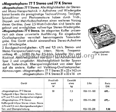 Magnetophon 77T Stereo; AEG Radios Allg. (ID = 1425989) R-Player