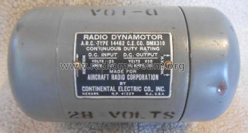 Dynamotor D-10A ARC Type 14482; Aircraft Radio (ID = 1630202) Aliment.