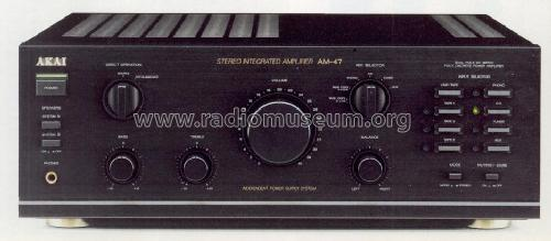 Stereo Integrated Amplifier AM-47; Akai Electric Co., (ID = 1239040) Ampl/Mixer