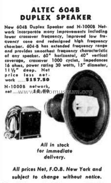 duplex speaker 604b speaker p altec lansing corp oklahoma. Black Bedroom Furniture Sets. Home Design Ideas