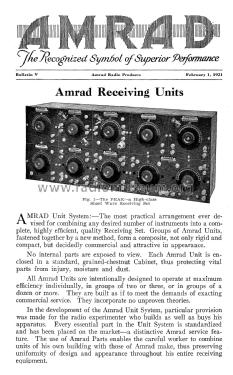 Amrad Receiving Units February 1, 1921 Bulletin V; Amrad Corporation; (ID = 1850755) Paper
