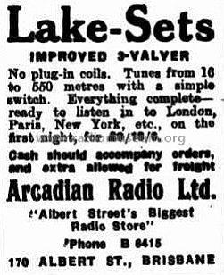 Lake Set Improved 3 Valver ; Arcadian Radio Ltd. (ID = 1845283) Radio