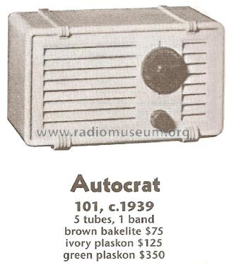 101-W ; Autocrat Radio Co.; (ID = 1745799) Radio