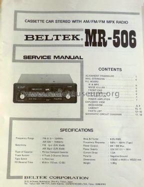 Cassette Car Stereo MR-506; Beltek Corporation; (ID = 2082801) Car Radio