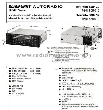 Magnificent Toronto Sqr32 7 641 886 010 Ab 7700001 Car Radio Blaupunkt I Wiring Cloud Pendufoxcilixyz