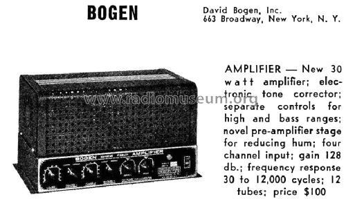 amplifier 30w ampl  mixer bogen  david co   inc   new york ny