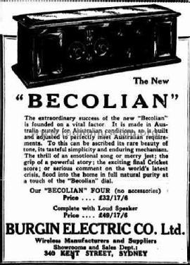 Becolian Four ; Burgin Electric Co. (ID = 1842887) Radio