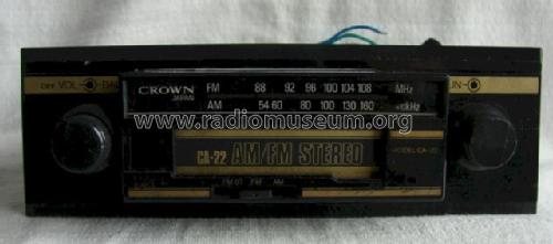 AM/FM Stereo CA-22; Crown Radio Corp.; (ID = 1173790) Car Radio