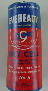 Nine 9 Lives - Dry Cell - For Ignition, Bells, telephones, etc. No. 6; Eveready Ever Ready, (ID = 1745329) Power-S