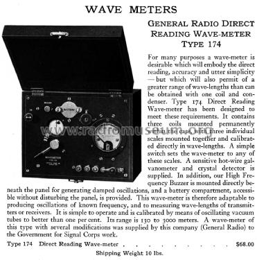 Direct Reading Wave-Meter Type 174; General Radio (ID = 2431818) Equipment