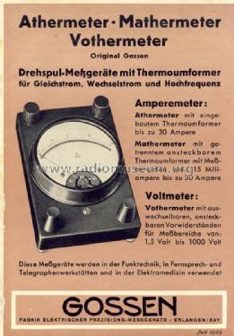 Mathermeter - Amperemeter ; Gossen, P., & Co. KG (ID = 1267069) Equipment