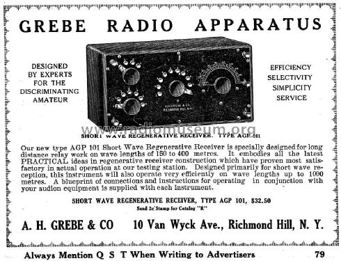 Short Wave Regenerative Receiver AGP-101; Grebe, A.H. & Co.; (ID = 947711) Radio