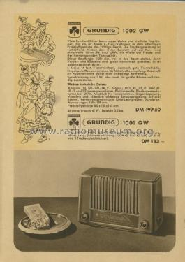 1001GW; Grundig Radio- (ID = 206477) Radio