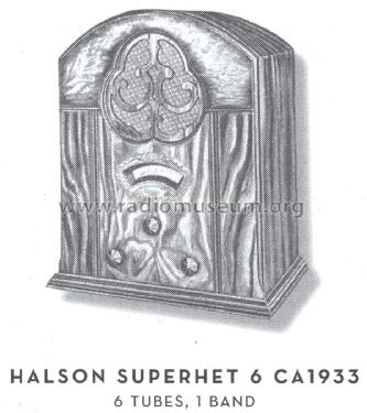 Superhet 6 ; Halson Radio Mfg. Co (ID = 1587200) Radio