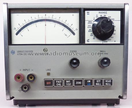 DC Null Volt-Ammeter 419A; Hewlett-Packard, HP; (ID = 801013) Equipment