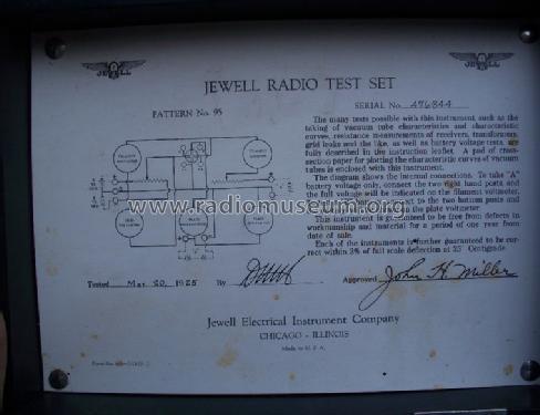 Jewell Radio Test Set Pattern No  95 Equipment Weston Electr