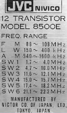 Nivico All Wave Super Sensitive 8500E Radio JVC - Victor Com