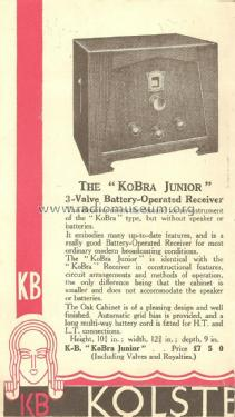Kobra Junior KB 291; Kolster Brandes Ltd. (ID = 1996344) Radio