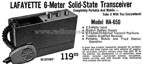6 Meter Transceiver HA-650 Amateur Lafayette Radio & TV