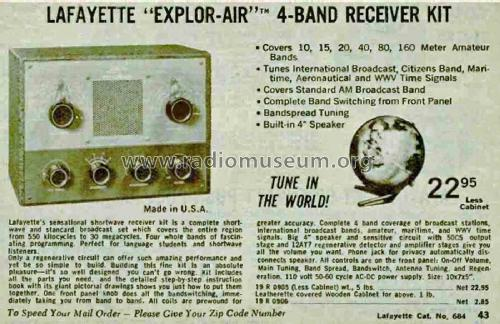 Explor-Air 4-Band Receiver Kit KT-135 Radio Lafayette Radio