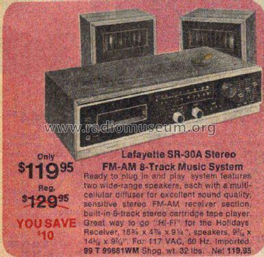 Stereo am fm 8 track sr 30a radio lafayette radio tv for Lafayette cds 30
