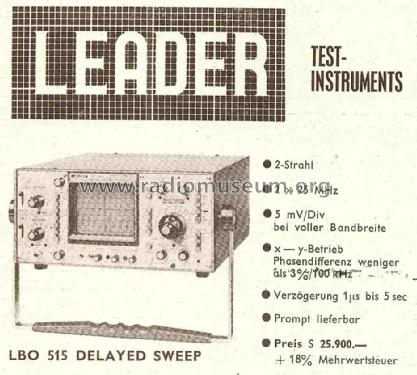 Delayed Sweep LBO-515; Leader Electronics (ID = 784001) Equipment
