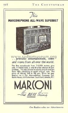 All-Wave Superhet 346; Marconi Co. (ID = 1558518) Radio