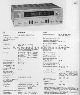STA-400X; Monarch Electronics (ID = 589102) Radio
