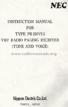 VHF Radio Paging Receiver PR-150V2-5; NEC, Nippon Electric (ID = 1021143) Receiver-C