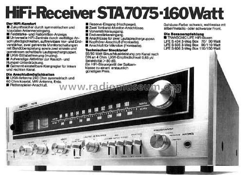 AM/FM Stereo Receiver - MW/UKW HiFi Receiver 7075; Nikko Electric (ID = 2512416) Radio