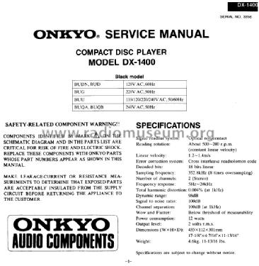 Compact Disc Player DX-1400; Onkyo, Osaka Denki (ID = 1681152) R-Player