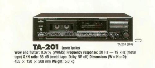 Stereo Cassette Tape Deck TA-201 R-Player Onkyo