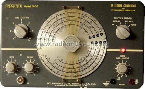 G-30 RF Signal Generator; PACO Electronics Co. (ID = 401509) Equipment