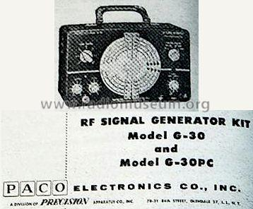 G-30PC RF Signal Generator; PACO Electronics Co. (ID = 401510) Equipment