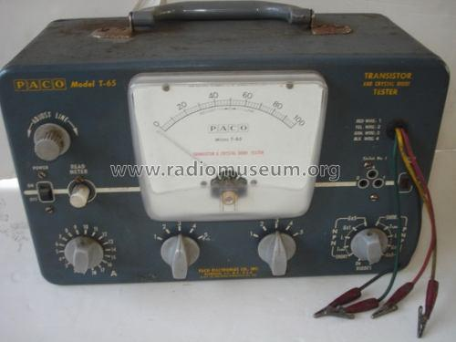 Transistor and Diode Tester T-65; PACO Electronics Co. (ID = 1327798) Equipment