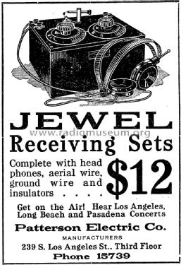 Jewel Crystal Receiving Set ; Patterson Radio Corp (ID = 1406360) Galène