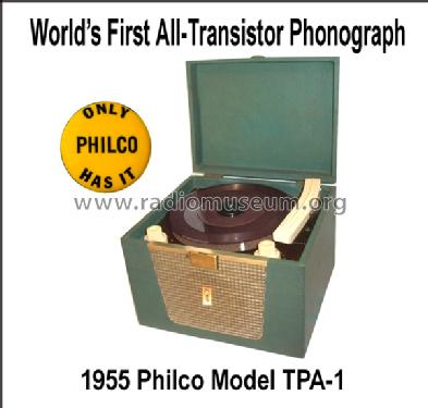 All Transistor Portable Phonograph TPA-1 M32; Philco, Philadelphia (ID = 1307523) R-Player