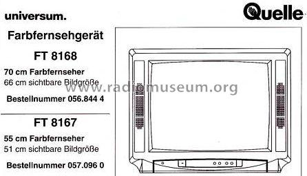 universum ft8168 television quelle gmbh universum f rth und. Black Bedroom Furniture Sets. Home Design Ideas