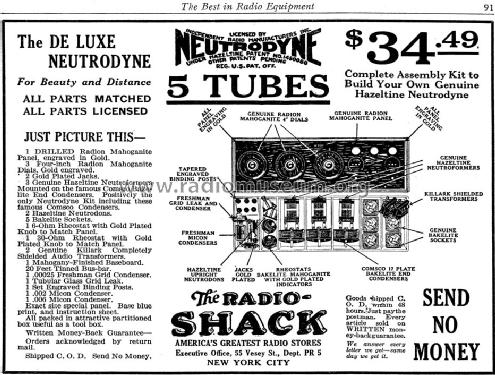 De Luxe Neutrodyne ; Radio Shack Tandy, (ID = 1257171) Kit