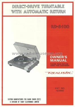 Direct-Drive Turntable RD-8100; Radio Shack Tandy, (ID = 2045846) Misc