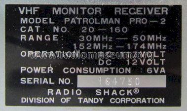 Realistic Patrolman Pro-2 VHF Monitor Receiver 20-160; Radio Shack Tandy, (ID = 1360659) Commercial Re