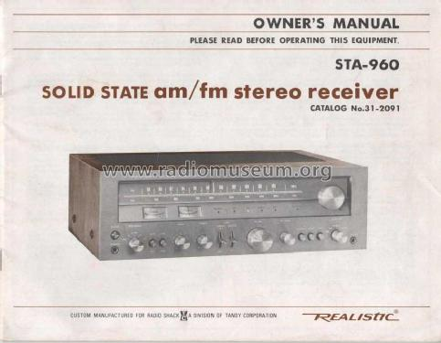 Realistic STA-960 Receiver / Amplifier; Radio Shack Tandy, (ID = 995887) Radio