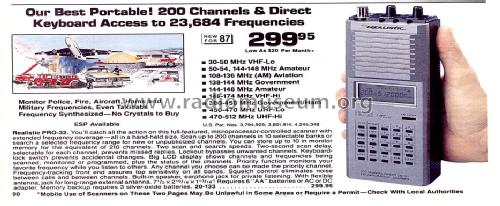 Scanner AM/FM PRO-32 Receiver-C Radio Shack Tandy, Realistic