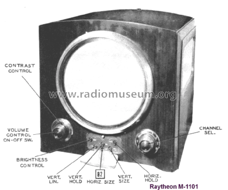 M-1101 Ch= 12AX22; Raytheon Mfg. Co.; (ID = 1666445) Television